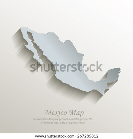 Mexico map white blue card paper 3D raster - stock vector