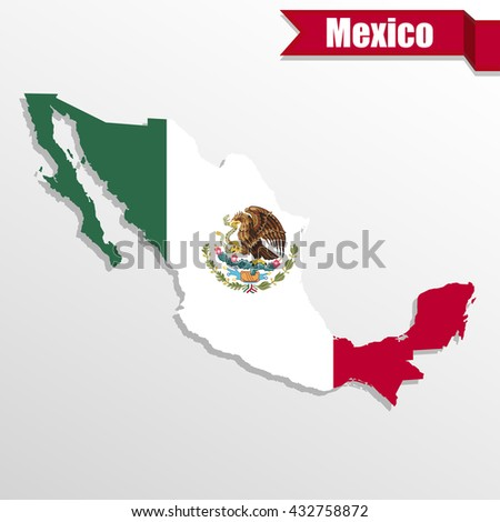 Mexico map with flag inside and ribbon - stock vector