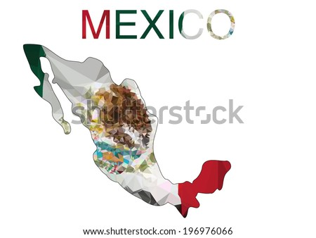 Mexico Map with polygonal flag. Vector illustration. - stock vector