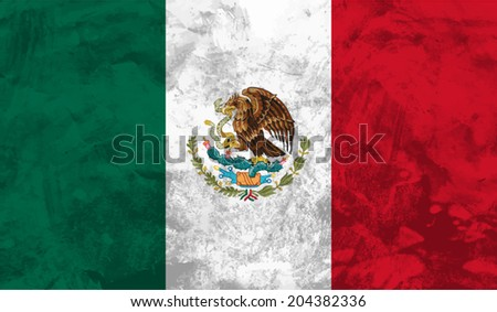 Mexico, Mexican flag on concrete textured background - stock vector