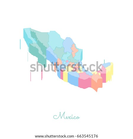 United Mexican States Hipster Round Rubber Stock Vector - Mexico regions map