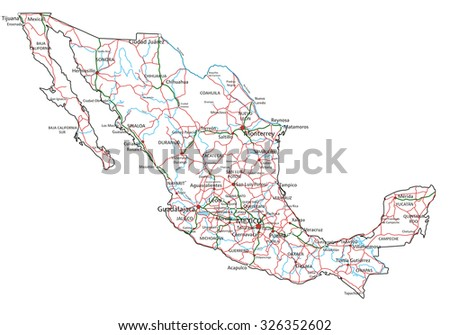 Mexico Road Highway Map Vector Illustration Stock Vector - Mexico road map