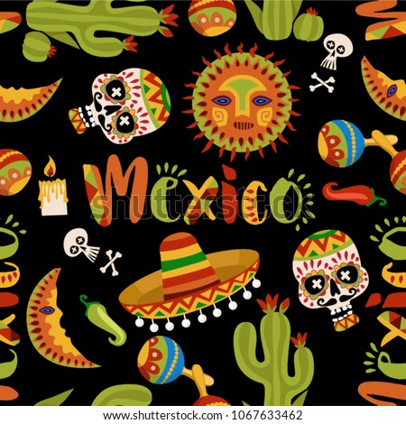 Mexico Seamless Pattern Mexican Culture Symbols Stock Vector 2018