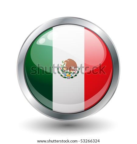 Mexico shiny button flag vector illustration - stock vector