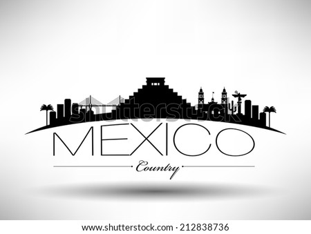 Mexico Skyline with Typography Design - stock vector