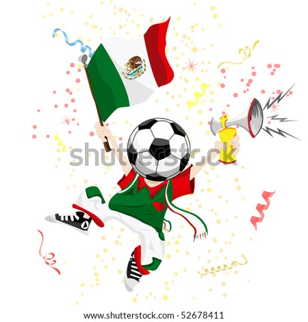 Mexico Soccer Fan with Ball Head. Editable Vector Illustration - stock vector
