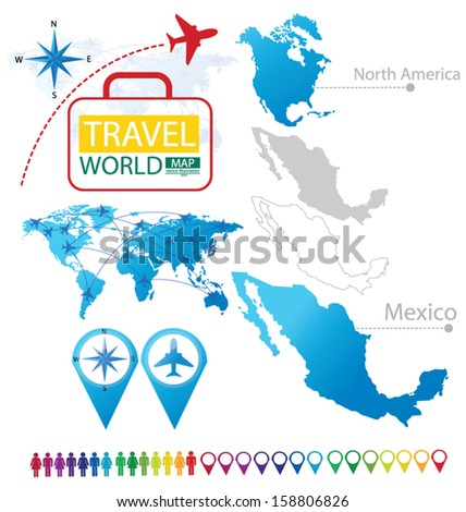 Mexico. United Mexican States. North america. World Map. Travel vector Illustration. - stock vector