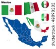 Mexico vector set. Detailed country shape with region borders, flags and icons isolated on white background. - stock photo