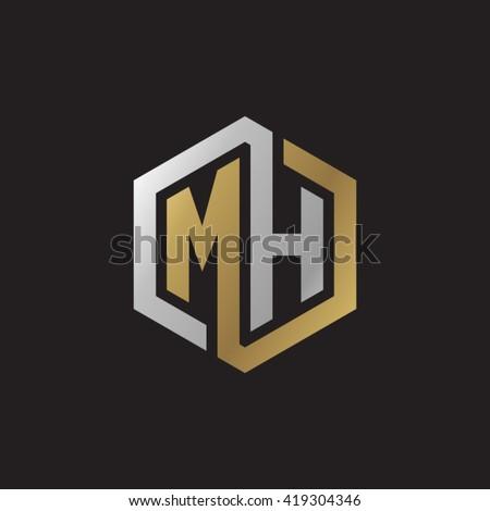 Stock Vector Mh Initial Letters Looping Linked Hexagon Elegant Logo Golden Silver Black Background Monogram Letter