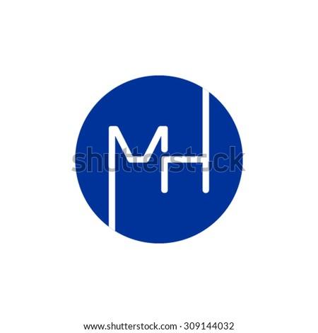 MH monogram logo - stock vector