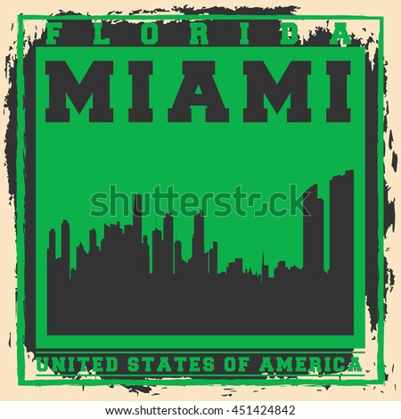 Miami City concept. Logo, Label, T-shirt design. Creative poster design.