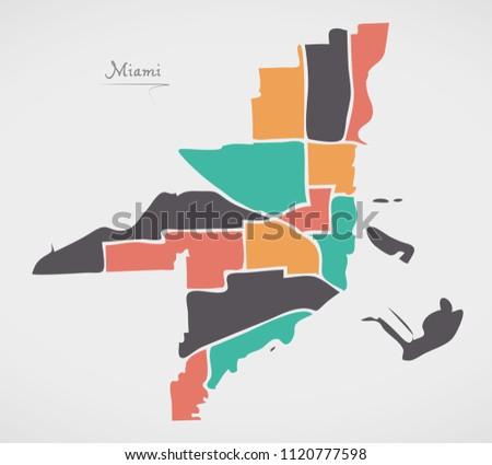 Map Miami Florida.Miami Florida Map Neighborhoods Modern Round Stock Vector 1120777598