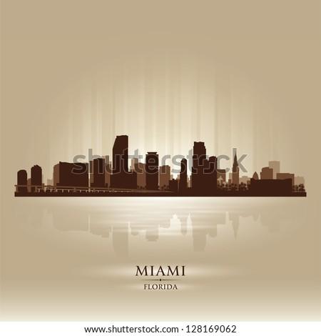 Miami, Florida skyline city silhouette - stock vector