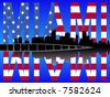 Miami Florida skyline reflected with American flag text - stock vector