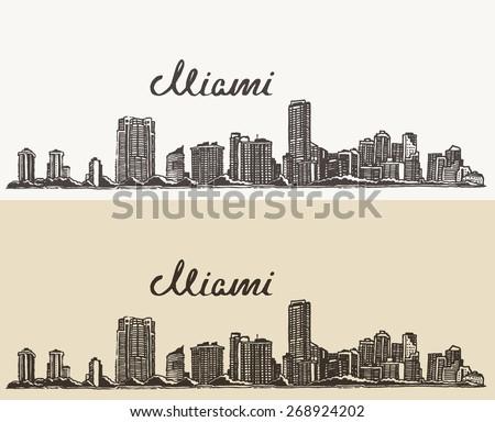 Miami skyline, big city architecture, vintage engraved vector illustration, hand drawn, sketch. - stock vector