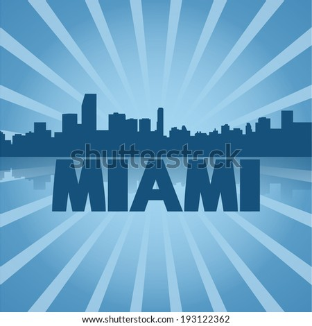 Miami skyline reflected with blue sunburst vector illustration - stock vector