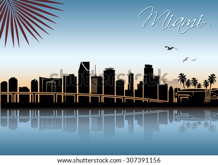 Miami skyline - vector illustration - stock vector