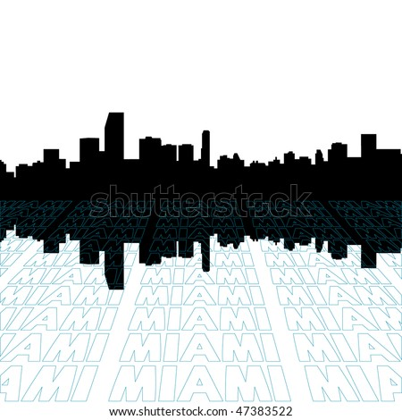 Miami skyline with perspective text outline foreground - stock vector