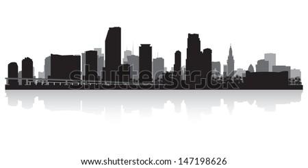 Miami USA city skyline silhouette vector illustration - stock vector