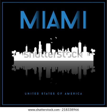 Miami, USA skyline silhouette vector design on black background. - stock vector