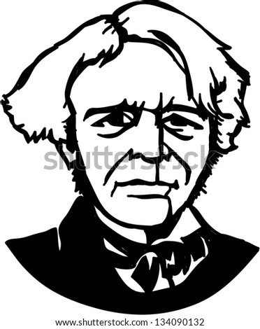 Michael Faraday, a British scientist (a physicist and chemist) - stock vector