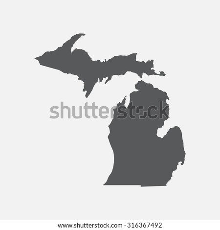 Michigan state border map. - stock vector