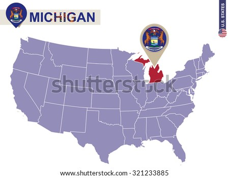 Michigan State On Usa Map Michigan Stock Vector - Us map michigan