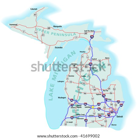 New York State Interstate Us Highway Stock Vector - Us map of interstates
