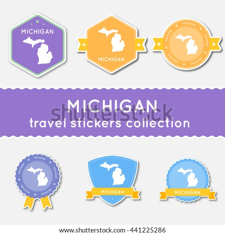 Michigan travel stickers collection. Big set of stickers with US state map and name. Flat material style badges vector illustration. - stock vector