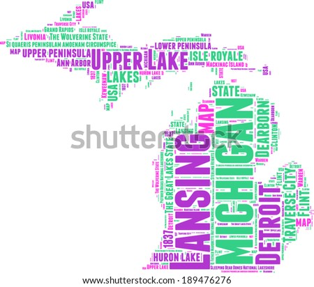 Michigan USA state map vector tag cloud illustration - stock vector