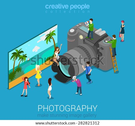 Micro people on DSLR photo camera and sample abstract picture. Flat 3d isometric web vector infographic illustration. Professional digital photography session concept. Creative people world collection - stock vector