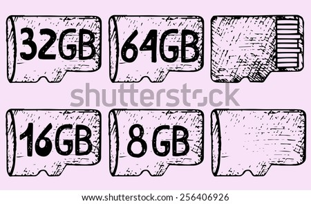 micro sd card, hand drawn, doodle style - stock vector