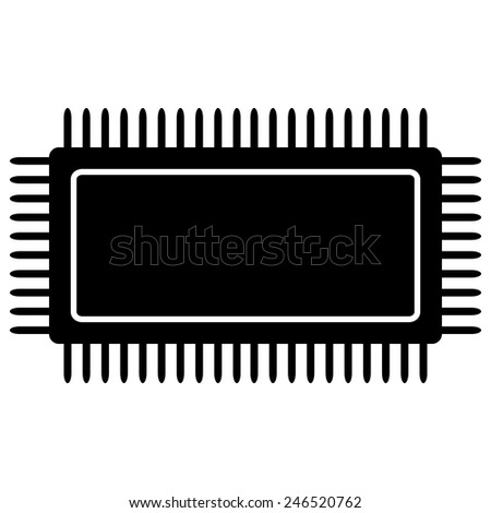 Microchip icon on white background. Vector illustration. - stock vector