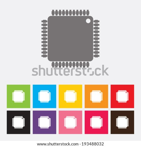 Microchip icons set - Vector - stock vector