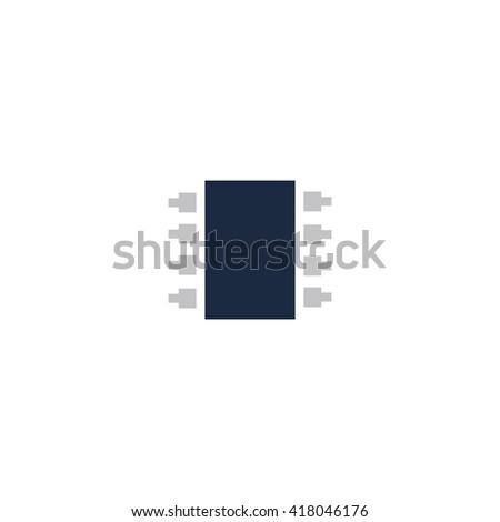 Microchip Simple flat vector icon - stock vector