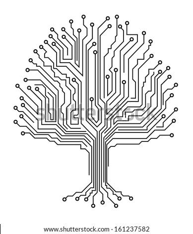 Microchip tree - stock vector