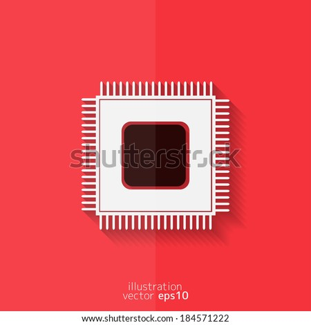 Microchip web icon. Flat design. - stock vector