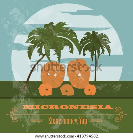 Micronesia. Stone money. Yap. Retro styled image. Vector illustration - stock vector