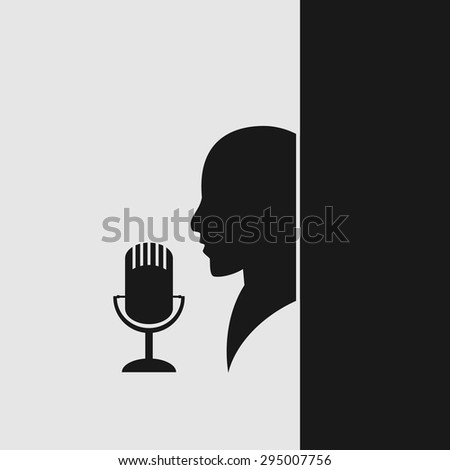 microphone and man icon, vector illustration - stock vector