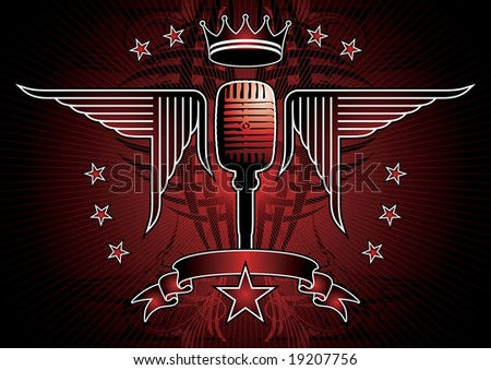 Microphone and wing motif. - stock vector