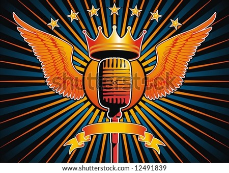 Microphone and wing motif. File contains vector as well as high resolution JPG. - stock vector