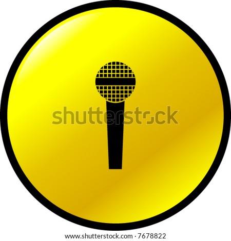 microphone button - stock vector