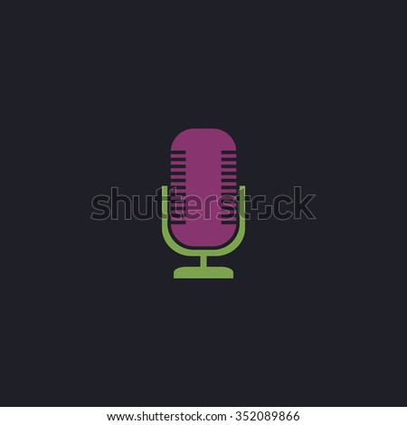 Microphone Color vector icon on dark background