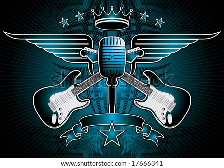Microphone, guitar and wing motif in blue. - stock vector