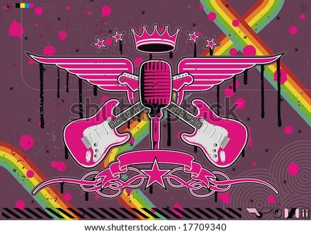 Microphone, guitar and wing motif in pink. - stock vector