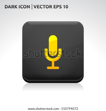 Microphone icon | color dark black gold yellow | icon set | abstract vector symbol | template design | shadows shiny | business button | abstract 3d - stock vector