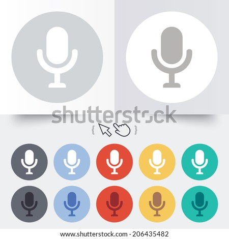 Microphone icon. Speaker symbol. Live music sign. Round 12 circle buttons. Shadow. Hand cursor pointer. Vector - stock vector
