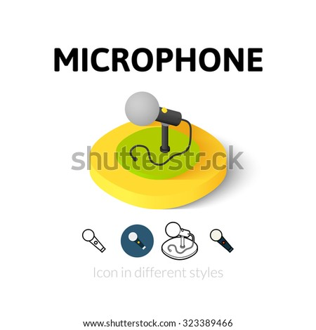 Microphone icon, vector symbol in flat, outline and isometric style - stock vector