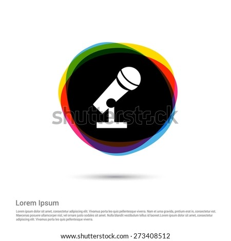Microphone Icon, White pictogram icon creative circle Multicolor background. Vector illustration. Flat icon design style