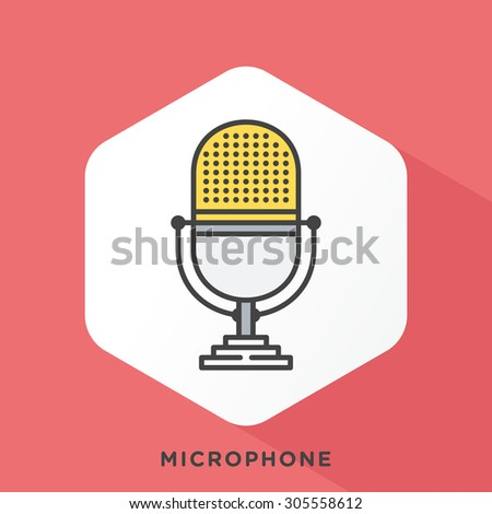 Microphone icon with dark grey outline and offset flat colors. Modern style minimalistic vector illustration for starting your podcast, equipment, editing, publishing. - stock vector
